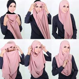 $enCountryForm.capitalKeyWord NZ - Plain Double Loop Instant Hijab Muslim Hijab Chiffon Scarf Islamic Solid Soft Arab Women Headwear Headscarf Turban Ready To Wear