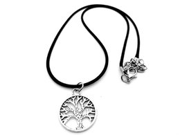 $enCountryForm.capitalKeyWord Australia - 10 small Round Tree of Life Tree Necklace plant Family Tree Necklace Chakra pendant Necklace Palm Prata Leaf Leather Rope Necklaces jewelry