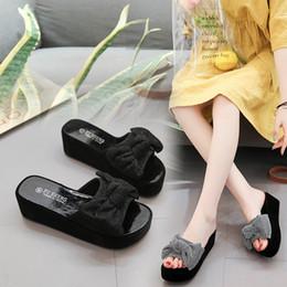 Sandal High Flats Shoes Canada - xiniu Shoes Woman's Wedges Shoes Fashion High-Heeled Sandals Casual Bow Flat Flip-Flops zapatos de mujer 2019 Free Shipping