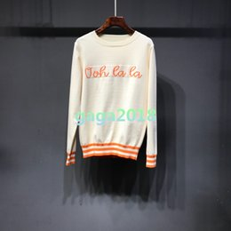 $enCountryForm.capitalKeyWord NZ - High quality Women girls Knitted Sweaters Round neck Silk cotton with letter female jacquard long-sleeved slim tees shirts cotton top blouse