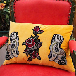$enCountryForm.capitalKeyWord Australia - Luxury Embroidered Designer G Pillow Cushion Creative Decorative Pillow Velvet material Home Decorative Pillow Christmas New year gifts 2020