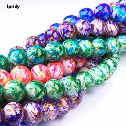 $enCountryForm.capitalKeyWord Australia - Ipridy White Background Double-color Mixed Spray Painted Round Glass Bead Strands, 6mm 8mm 10mm 12mm Hole: 1.5mm 5 strands lot