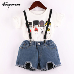 $enCountryForm.capitalKeyWord NZ - Girls Clothes Set Soldier Printed White Shirt And Jeans Shorts Overall Clothing Suit Summer Fashion Outfits Baby Kids Clothes Y190518