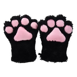 glove cat hair NZ - 2 pieces Black Cat Foot Plush Gloves + Cat Ears Hair Clips Hair Pins Party Cosplay