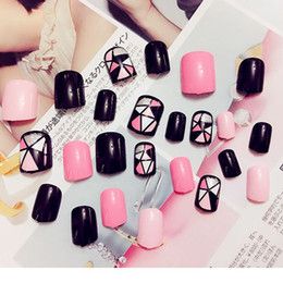 Nail art square desigN online shopping - 24pcs set Black And Pink False Square Head Full Cover Art Fake Nails With Glue Artificial Geometry Design Full Nail Tips