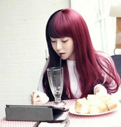 Discount straight bangs wavy hair - WIG free shipping >>>Long Full Bangs Slight Curly Wavy Hair Girl Lolita Cosplay Party Black & Red Wig