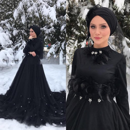 $enCountryForm.capitalKeyWord Australia - Gothic Black Long Sleeves Islamic Muslim Wedding Dress Hijab High Neck Crystal Feather Court Train Arabic Dubai Wedding Dresses