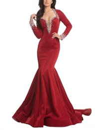Chinese  2019 V Neck Mermaid Evening Dresses Beaded Collar Backless Long Sleeves Elegant Beautiful Dresses Cheap Sexy Evening Formal Gowns manufacturers