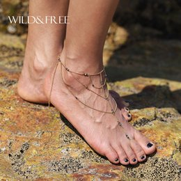 hot girls feet chain UK - Hot Gold Color Multi Layer Tassel Toe Rings Anklet 2017 Summer barefoot sandals Leg Stone Beads Foot Chain Jewelry Gift For Girl