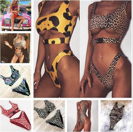 Wholesale black leopard swimwear for sale – plus size Sexy Bikini Swimwear Women Swimsuit Brazilian Bikini Set Green Print Halter Top Beach wear Bathing Suits