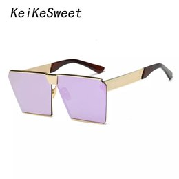 $enCountryForm.capitalKeyWord Australia - Wholesale- KeiKeSweet Fashion Brand Designer Square Top Hip Hop Rock Rayed Women Sunglasses Rose Gold Ladies Oversized Sun glasses K0019
