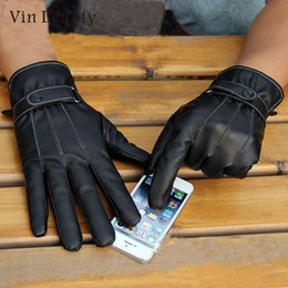 $enCountryForm.capitalKeyWord Australia - Protective Black Men Leather Riding Full Finger Touch Screen Warm Gloves Safe
