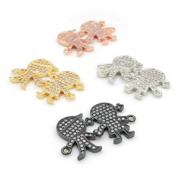 Clear Connectors Australia - 28*18*3mm Micro Pave Clear CZ Boy And Girl Connectors Fit For Men And Women Making Bracelets Jewelry