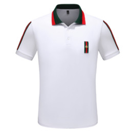 stitch bead 2019 - Summer new lapel short-sleeved men Red strip stitching beads cotton casual T-shirt High-grade solid color cheap stitch b