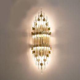 $enCountryForm.capitalKeyWord Australia - Luxury noble modern minimalism led wall lights creative crystal American European aisle background wall lamps bed head bedroom wall lightin