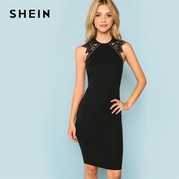 62ef1ad77f Shein Dresses NZ - Shein Black Party Contrast Lace Insert Armhole Bodycon  Sleeveless Natural Waist Solid