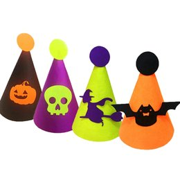 dress skull caps 2019 - Halloween Pumpkin Hat Bat Witch Skull Hats Fancy Dress Party Costume Cap For Adult Kids Party Cosplay Headpiece cheap dr