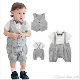 $enCountryForm.capitalKeyWord Australia - Retail Gentleman Style Baby Boys Rompers Sets Summer Infant Boy Striped Short Sleeve Romper+Vest+Bowtie 3pcs Set Kids Jumpsuits Toddler Suit