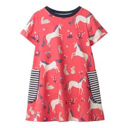 $enCountryForm.capitalKeyWord UK - Cute Baby Girls Ruffles Multi Cartoon Dress Candy Color Stripes Horse Print Summer Cotton Dress Western Fashion Children Dresses