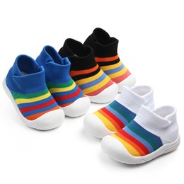 soft sole baby sport shoes NZ - baby boy girl soft sole crib shoes infant rainbow anti-slip breathable sports shoes flying woven CY200512