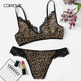 d2dea59512f COLROVIE Lace Trim Leopard Lingerie Set Women Intimates 2019 Summer Sexy Bra  And Panty Sets Female Wireless Briefs Underwear Set