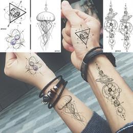 $enCountryForm.capitalKeyWord Australia - Baofuli Waterproof Temporary Sticker Geometric Planet Jellyfish Tattoo Black Triangle Tattoos Body Arm Men Fake Tatoos Chains