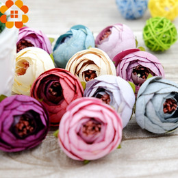 Tea Box Diy Australia - 50PCS Silk Artificial Flower Heads Tea Rose Flowers DIY Wreath Gift Box Scrapbooking Wedding Party Decoration Craft Fake Flowers C18112601