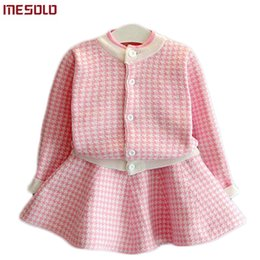Summer Jackets For Kids Girls Australia - Girls Clothing Sets Kids Houndstooth Knitted Suits Long Sleeve Plaid Jackets+Skirts 2Pcs for Kids Suits