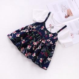 Floral Print Shirts Baby Australia - good quality 2019 Baby Girl Summer Dress Top Short T-Shirt+Strap 2Pcs Baby Girl Princess Dress Bow Floral Print Cotton Kids Clothes