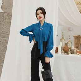 works bell Australia - 2 Piece Set 2018 Women Autumn Blue Full Flare Sleeve Elegant Office Suit Top and Full Length Work Bell-bottoms Two Piece Sets
