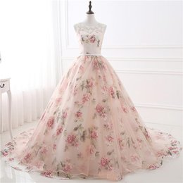 $enCountryForm.capitalKeyWord Australia - In Stock Cheap Appliques Prom Dress Print Flowers Organza Ball Gown Evening Dresses Rose Flowers Lace Formal Gowns
