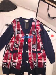 Slim girlS blouSe online shopping - high end women girls oversize knit sweater jacket plaid interlocking cardigan single breasted v neck long sleeve blouse shirt fashion tops