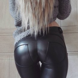 sexy plus size faux clothing NZ - Faux Pu Leather Women's Leggings Women's Clothing ThickBlackPush UpHigh Waist Leggings Women Plus Size Winter Legging Sexy Pants Women Leggi