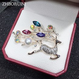 Brooch Hair Australia - heap Hair Jewelry ZHBORUINI High Quality Natural Freshwater Brooch Pearl Deer Brooch Pearl Jewelry For Women Gift Accessories Christmas ...