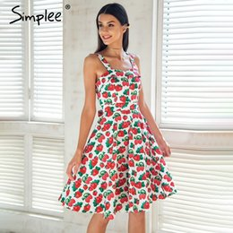 2f8fd404cdc Simplee Print Strap Midi Summer Dress Women Causal Sash Princess Dress  Spring Party Wear Cut Dress Girl Vestidos 2018 Robe Femme Y190514