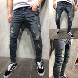 Wholesale mens skinny leg jeans for sale – denim Mens Cool Skinny Jeans Hole Leg Opening Zipped Worn Out Slim Fit Plus Size All Season Urban Wind Biker Pants