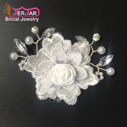 Hair Accessory Embroidery Australia - Wedding Bridal Hair Combs Women Embroidery Hair Jewelry Fashion Silver Headpiece New White Flower Headwear Crystals Ornaments Accessories