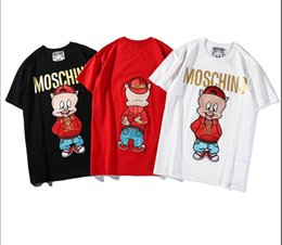 Italian Mens T Shirts Australia - 2019 new mens designer t shirts Italian brand embroidery hot stamping letter red cartoon wearing a hat pig luxe fashion women luxury t shirt