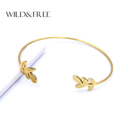 gold leaves Australia - Wild & Free New Stainless Steel Gold Leaf Cuff Bangles Women High Quality Leaves Round Shape Opening Bangles & Bracelets Jewelry