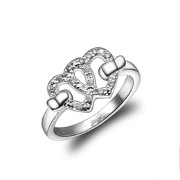 sterling pave ring Australia - Fashion Plated sterling silver Heart to heart ring DJSR125 US size 8 ;Free shipping women's 925 silver plate Wedding Rings jewelry