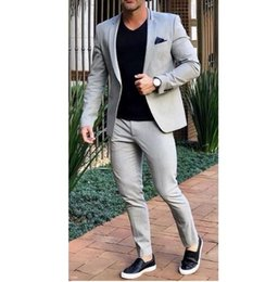 $enCountryForm.capitalKeyWord Australia - Mens Grey White Slim Fit Formal Wedding Suit Tuxedo Suit Jacket Custom Business 2 Piece Suit Men ZQ