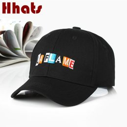 Discount bones black dad hat - Embroidery LA FLAME Men Hat For Women Adjustable Cotton LAFLAME Snapback Dad Hat Cap Hip Hop Sports K pop Trucker Bone