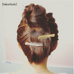 $enCountryForm.capitalKeyWord Australia - Punk Smooth Comb Shape Mental Hairpins Gold Silvery Hair Clips for Girls Hair Accessories for Women Barrettes Bobby Pins