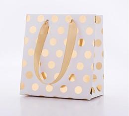 $enCountryForm.capitalKeyWord Australia - Paper Small Gold Silver Metallic Dots Gift Bags with Ribbon Handles Small Gift Bags for Bridal, Wedding, Birthday, Christmas Holidays SN2584