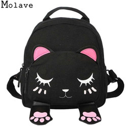 $enCountryForm.capitalKeyWord NZ - Molave Backpack Women Pu Leather Cute Cat Backpacks For Teenage Girls Funny Cats Ears Canvas Shoulder Bags Female Mochila 090415 Y190601