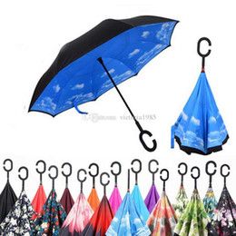 $enCountryForm.capitalKeyWord Australia - Windproof Reverse Umbrella Folding Double Layer Inverted Upside Dow Umbrella Self Stand C-Hook Hands for Car