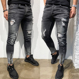 Discount zip jeans men - 2019 New Men Ripped holes jeans Zip skinny biker jeans black with Pleated patchwork slim fit hip hop men pants
