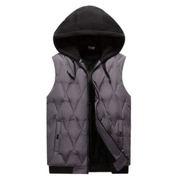 Diamond Vests Men UK - In the spring of 2019 men down cotton vest Cultivate one's morality sleeveless thickening Diamond wire hooded vest
