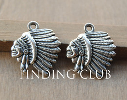 Native American Charms Australia - 30 pcs Antique Silver Metal Alloy Indian Chief Native American Charms DIY Jewelry Findings 18x21mm A48