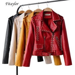 $enCountryForm.capitalKeyWord Australia - Autumn Women Faux Soft Leather Short Black Punk Jackets Rivet Zipper Epaulet Red Coat Pu Motorcycle Outwear With Belt